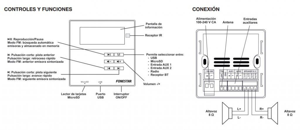 Controles y conexión Fonestar W-66R-5